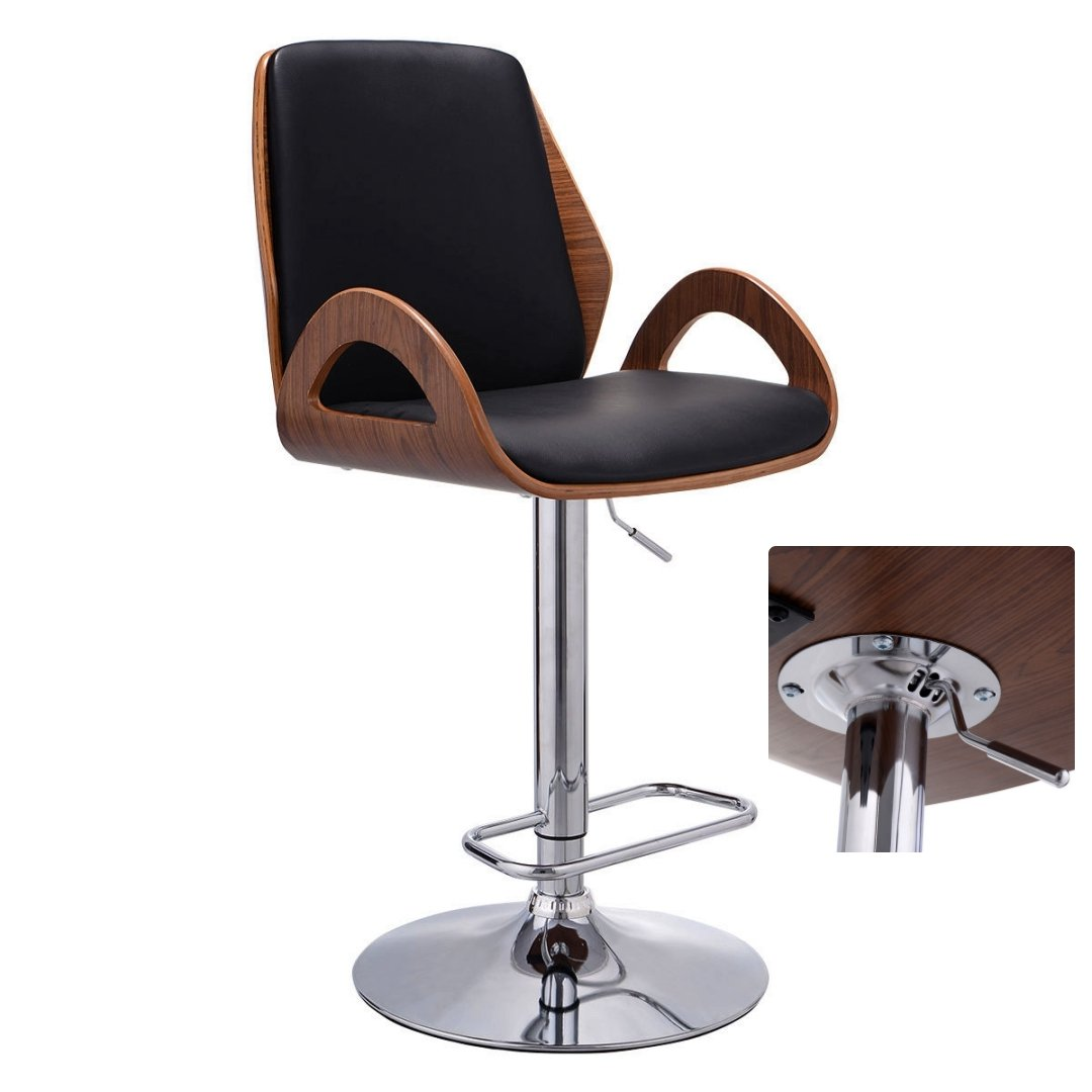 Contemporary Bentwood Bar stool Adjustable Height 360 Degree Swivel Durable PU Leather Upholstery Seat Stable Stylish Armrest Footrest Chrome Steel Frame Office Pub Chair New #1098