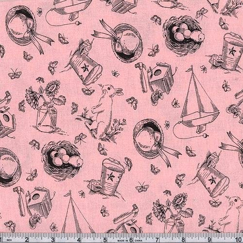 45'' Wide Michael Miller Bunny Toile Pink Fabric By The Yard