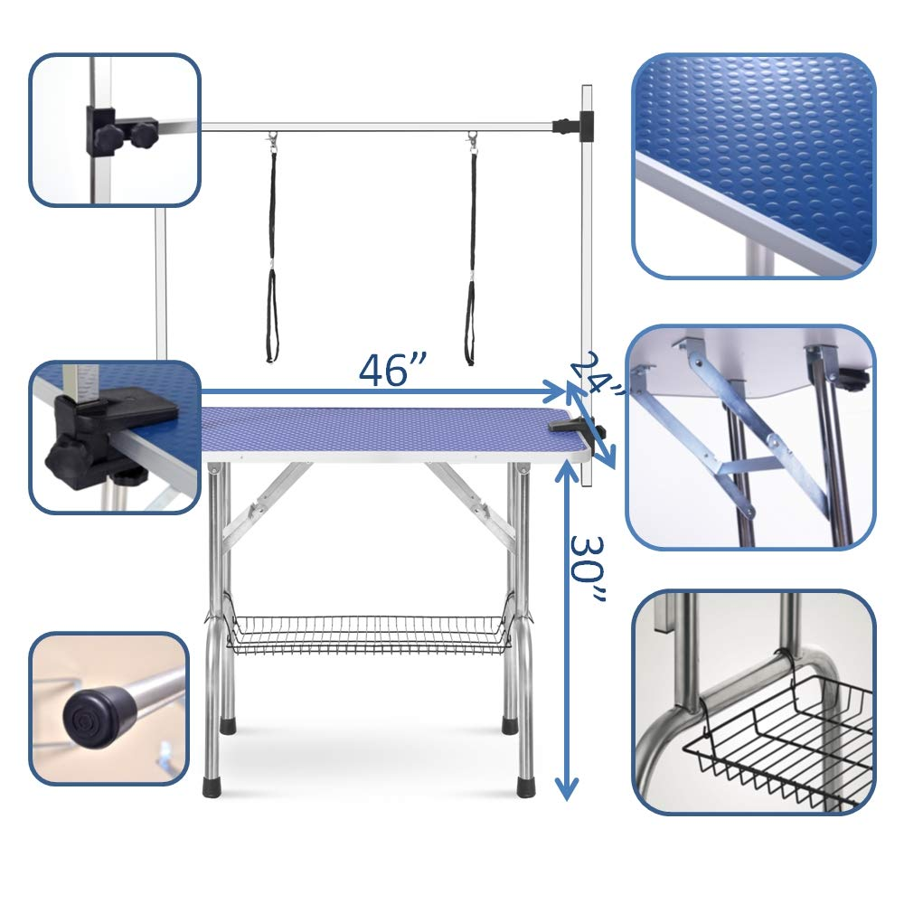 puppykitty 46'' Folding pet Dog Grooming Table Durable Stainless Steel pet Dog cat Extra Large Grooming Table with Storage mesh Tray & Height Adjustable arm