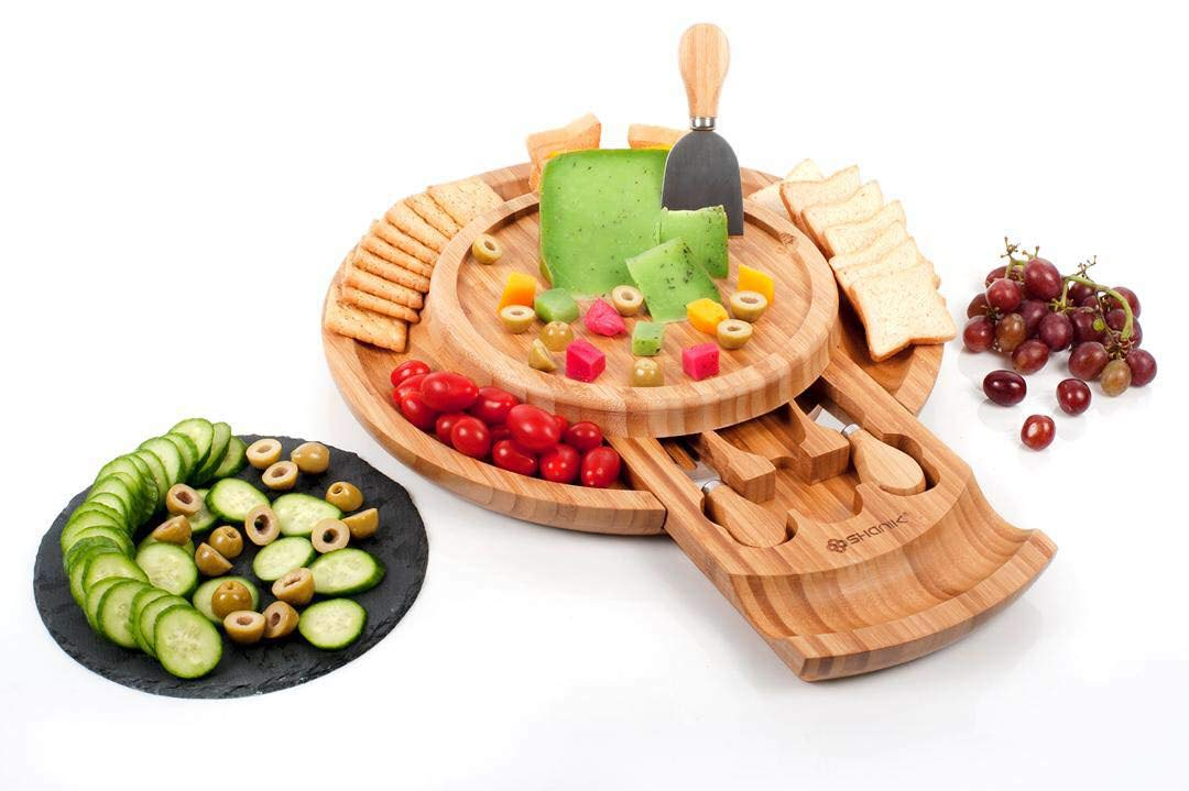 Cheese Board, Round Charcuterie Board With Slide Out Utensils Drawer-Bamboo Cheese Board With Stainless Steel Cutlery Set Of 2 Knives And 1 Fork-Serving Platter Tray For Cheese, Appetizers & Crackers