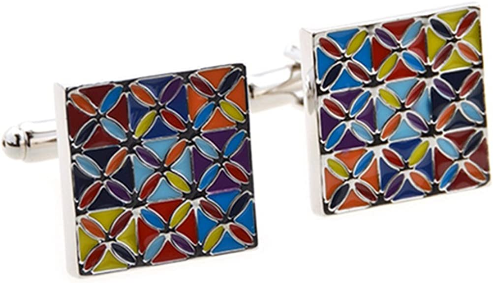 Covink Engraving Arcadian Square Cufflinks Exotic Men's Shirt Cuff Bucolic Multi Color Sleeve Button