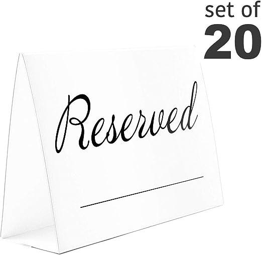 Amazon.com: Reservado mesa señales. 20-Pack. 5.5