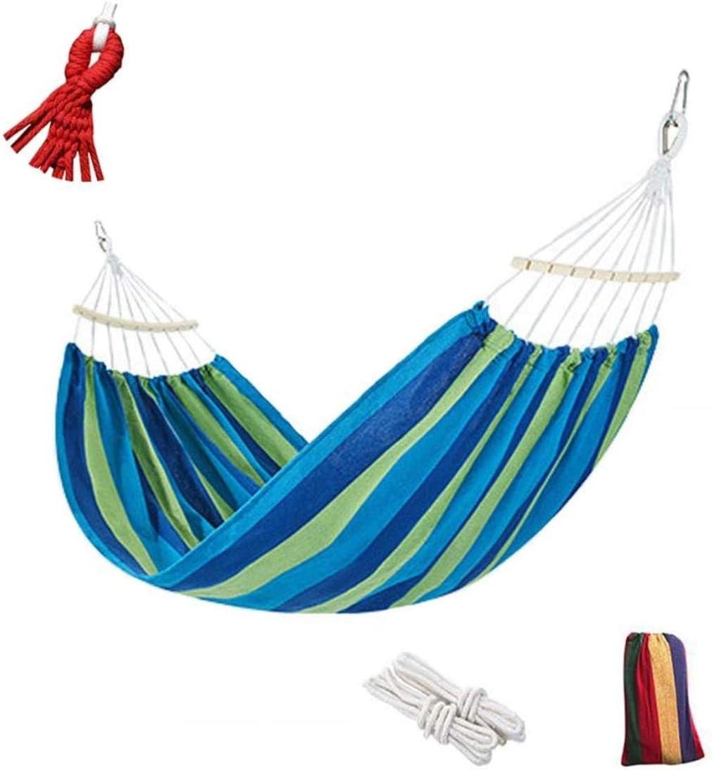 XUHRA Rayas Hamaca para Acampar al Aire Libre, Que se mueven Hamaca de Lona Colgando Palo de Madera, llevando 550lbs para Viajar Garden Beach,Blue