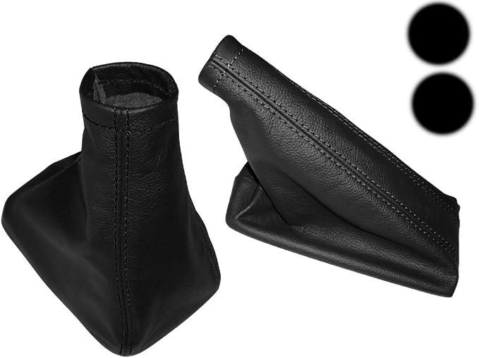Aerzetix Satz Schaltsack Handbremssack Schwarze Farbe 100 Leder Nähte Schwarzen Auto