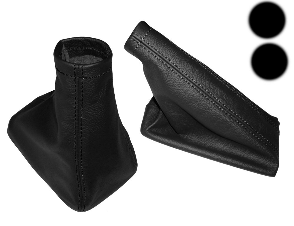Gaiter cover for gear lever of faux leather black with black stitching AERZETIX