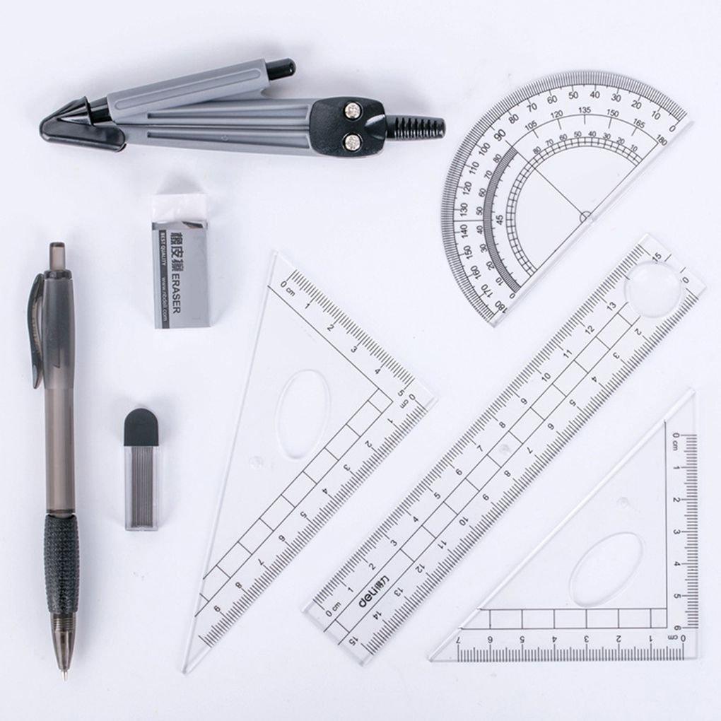 Zerama 8PCS Set Compas R/ègle Kit /étudiants /école Stationery Examen de math/ématiques Outils dapprentissage Cadeaux