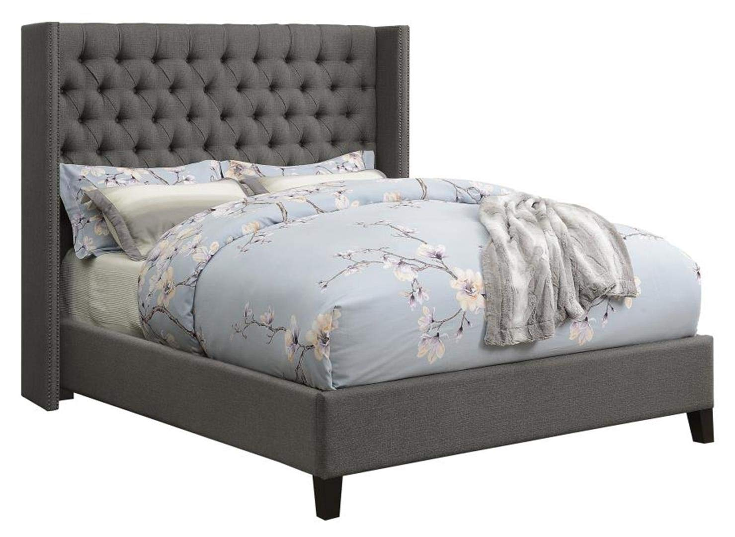 Amazon.com: Benicia Upholstered California King Bed With Demi Wings And  Button Tufting Grey: Kitchen U0026 Dining