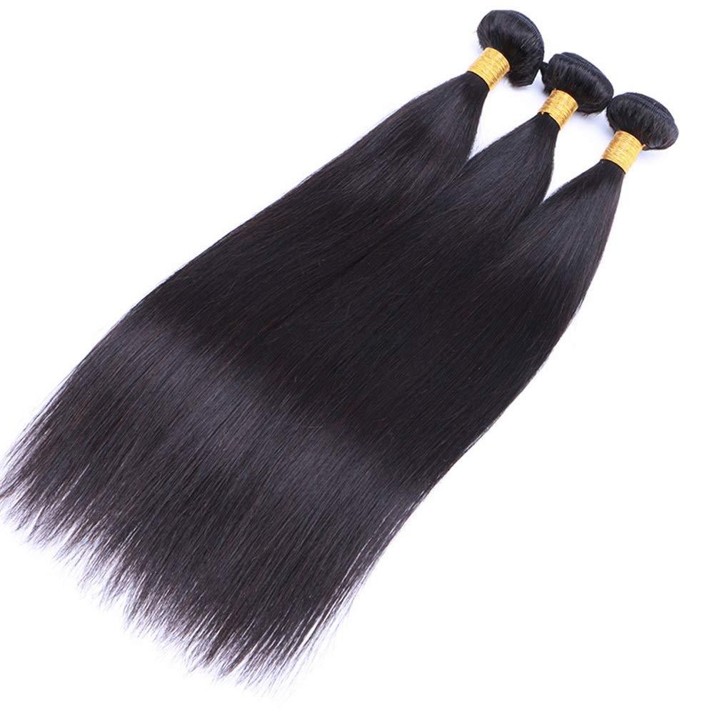 BOBIDYEE 人間の髪の毛ストレート黒ストレートウィッグ髪人間の髪の毛織り物ブラジルストレートヘアーナチュラルカラー(8