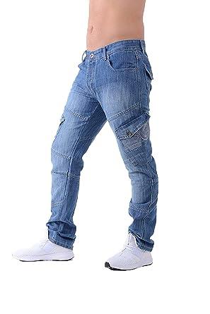7cb932c3eb Crosshatch Mens New Cargo Jeans - Light Wash - 28 - Regular