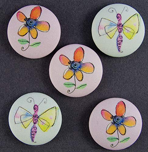 - Decorative Craft - Fabric Covered Picture Button -Set of 5 - Butterfly and Flower - Great Item for Wedding, Album Art,Scrapbooking