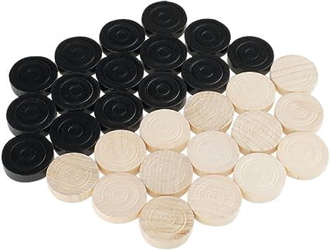 30 Stück Schwarz//Weiß Backgammon-Spielsteine Mühlesteine Damesteine
