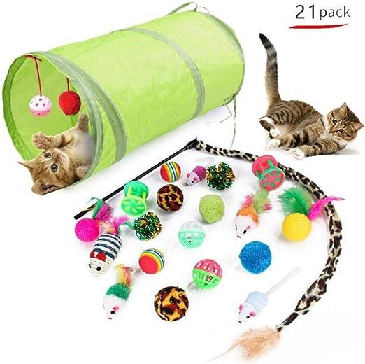 Gulunmun Túneles para Gatos Artículos para Gatos Tubos Y Túneles para Animales Pequeños Juguete para Gatos 21 Unids/Set Kit para Mascotas Túnel Plegable Juguete para Gatos Diversión Pluma Forma De Ra: Amazon.es: