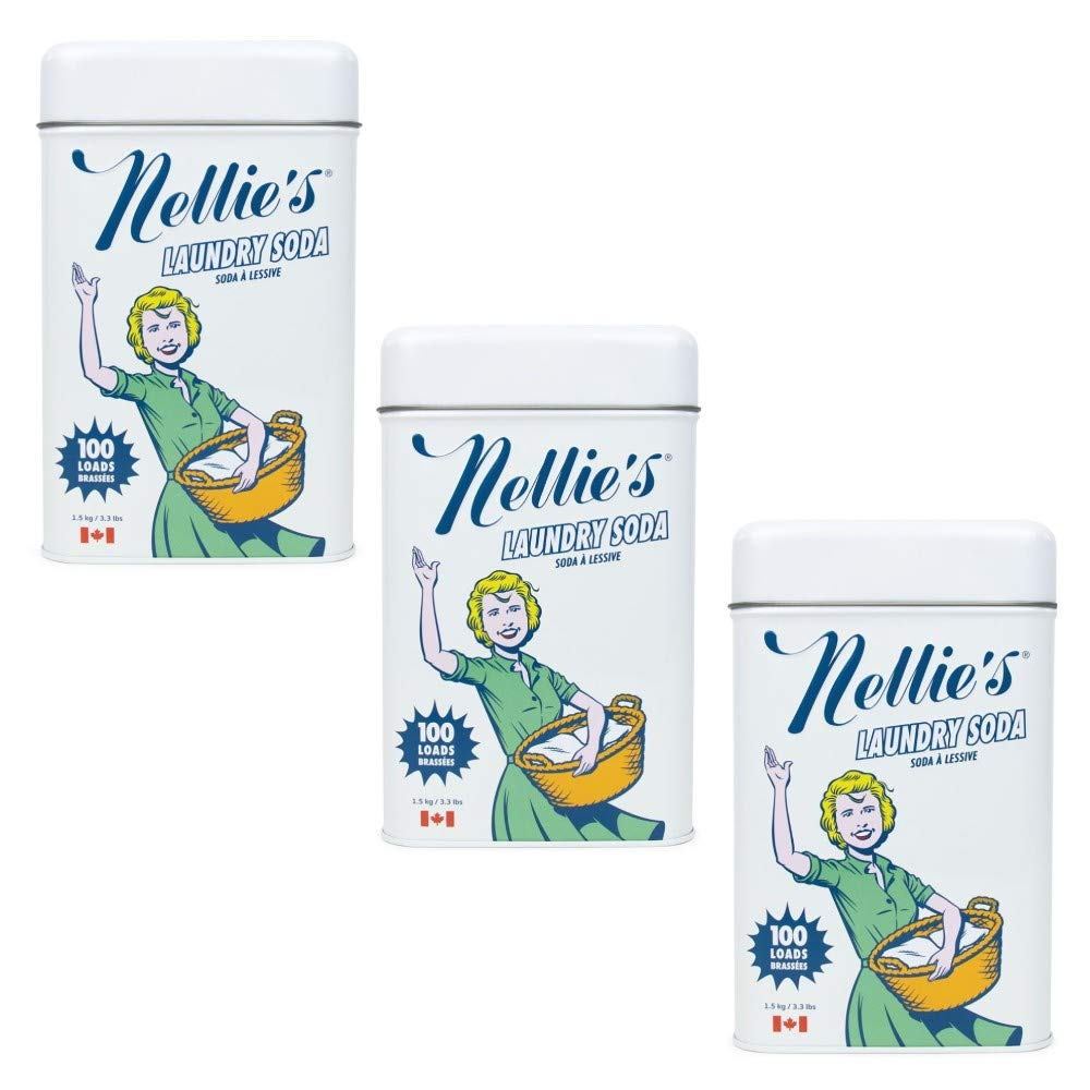 Nellie's Laundry Soda, 100 Load Tin 3 Pack Non Toxic, Biodegradable, Hypoallergenic, Vegan, Leaping Bunny Certified by Nellie's