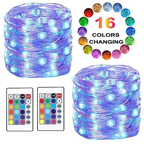 LED String Lights, Color Changing Fairy Lights Battery Powered Starry Firefly Lights Remote Timer,16 Ft 50 LED 4 Modes Decorative Wire Lights Bedroom Party Xmas Home(16 Colors)