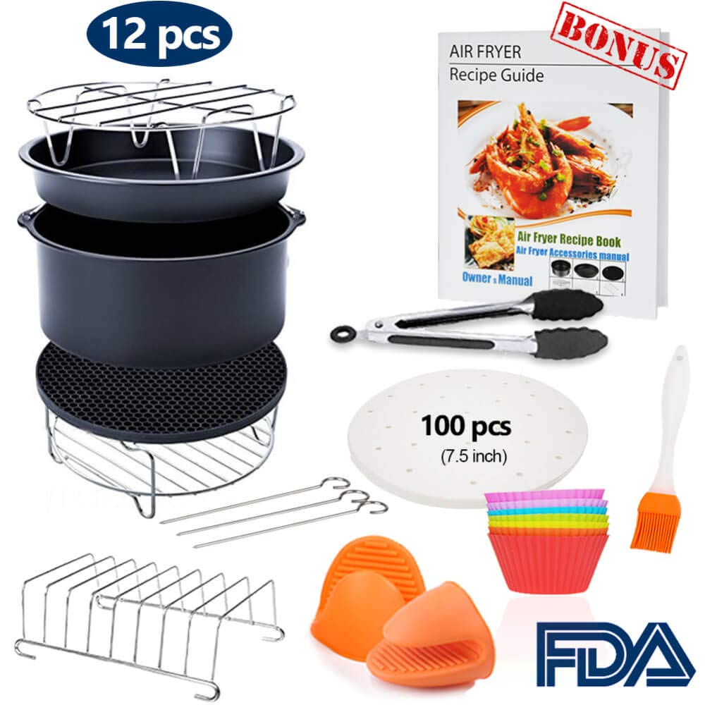 7 inch General Air Fryer Accessories 11 pcs with Recipe Cookbook, Compatible for Philips Gowise USA Cozyna Airfryer 3.2QT - 3.5QT - 3.7QT, Deluxe Deep Fryer Accessories Set of 12