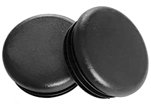 """(Pack of 8) - 2"""" Round (14 -20 Ga 1.840""""-1.930"""" ID), Black Plastic Tubing Plug 2 Inch End Cap - Steel Furniture Pipe Tube Cover Insert 