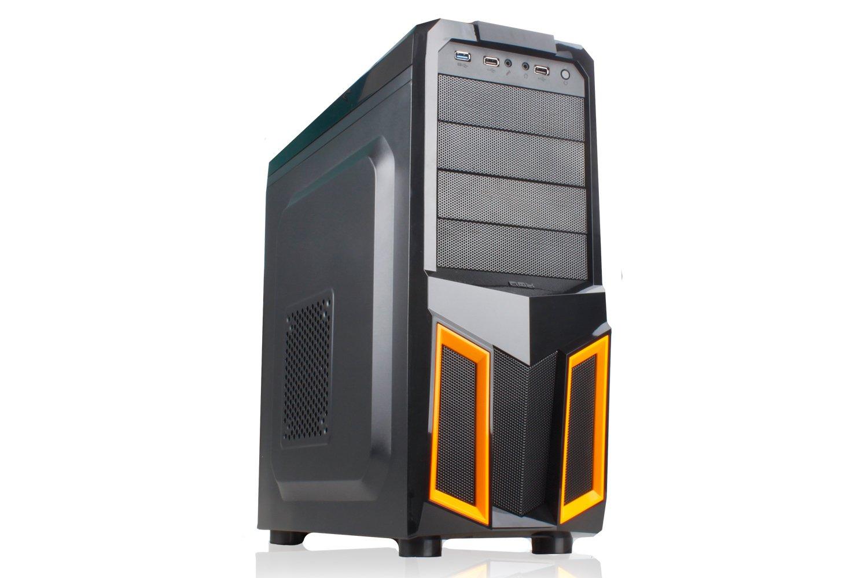 NOX K100 Midi-Tower Negro, Naranja carcasa de ordenador - Caja de ordenador (Midi-Tower, PC, ATX, Negro, Naranja, Superior, 1x 120 mm): Amazon.es: ...