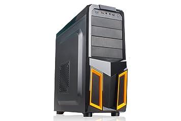 NOX K100 Midi-Tower Negro, Naranja carcasa de ordenador - Caja de ordenador (