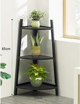 ACZZ Soporte de maceta de esquina de 3,4 niveles Macetero blanco Estante de hierba de madera Planta en maceta Estante de exhibición Plantador de pie Escalera Jardín Patio trasero,Negro,3 niveles: Amazon.es: Bricolaje