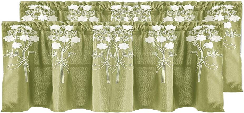 Molaxhome Cotton Valances for Windows 54 x 24 inch, Floral Embroidered Short Curtain Soft Texture for Cafe Living Room Small Sliding Glass Door Rod Pocket Set of 2 Panels
