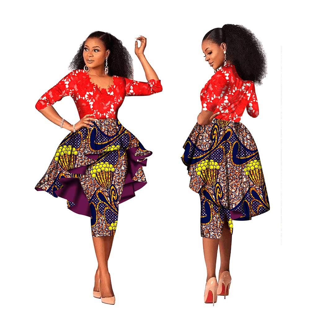 489 2 private afripride African Lace Dresses for Women Lace Tops+Dashiki Skirts 1Piece Ankara Fabric Print