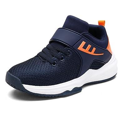 Unisex-Kinder Sneaker Klettverschluss Sportschuhe Atmungsaktiv Rutschfest Abriebfest Laufschuhe Weiches Leder Outdoor Turnschuhe Schwarz 31 lJzmnB