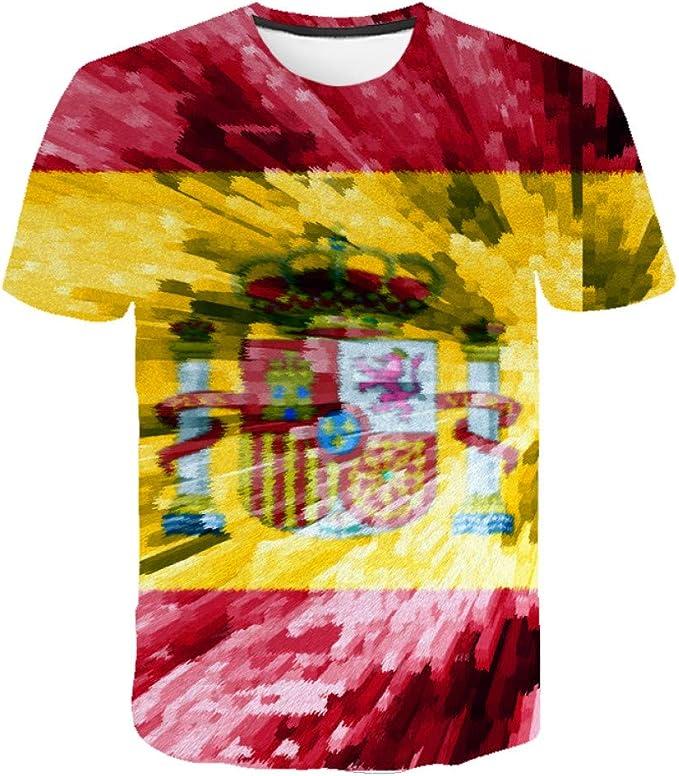ZCYTIM Marca de fábrica Bandera Española Camisa de Hip Hop Hombres de Manga Corta para Hombre Ropa Camisetas Divertidas Impresión 3D Camiseta Streetwear: Amazon.es: Deportes y aire libre