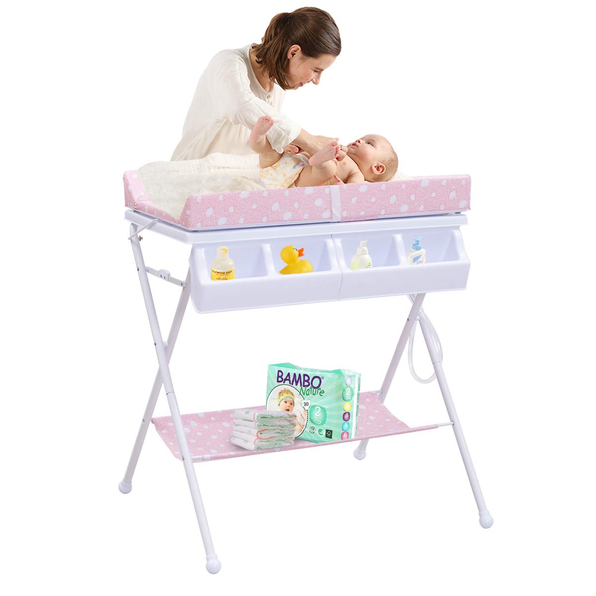 Costzon Baby Changing Table, Folding Diaper Station Nursery Organizer for Infant (Pink)