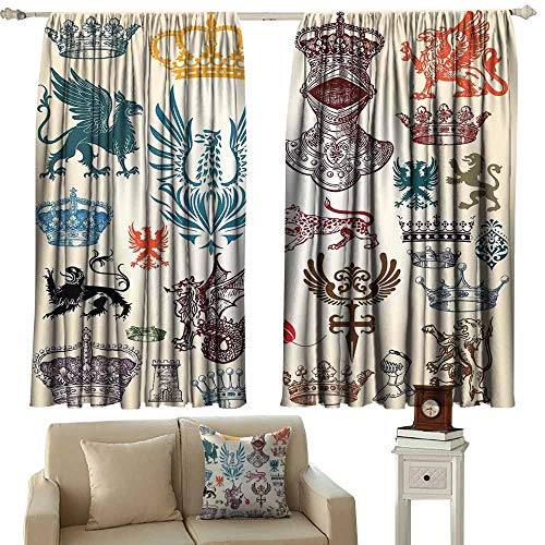 (Bedroom Curtains 2 Panel Medieval Collection of Medieval Renaissance Icons Retro Style Baroque Classical Art Print Multicolor Blackout Draperies for Bedroom Window W72 xL84)