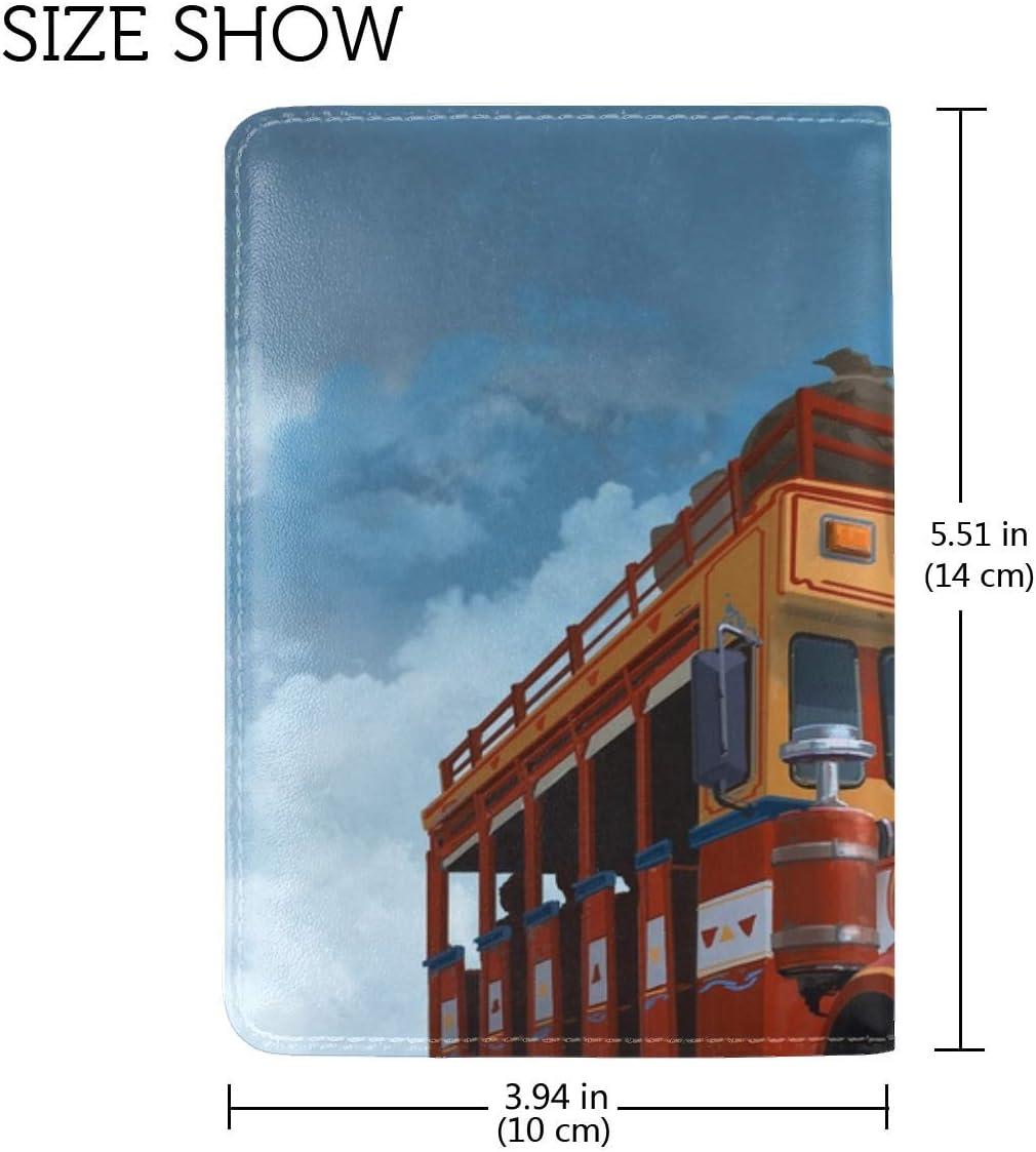 Bus Fiction Art Leather Passport Holder Cover Case Travel One Pocket