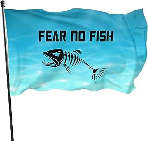 Fear No Fish Fishing Skull Skeleton Garden Flag Banner Flag for Inside/Outside 3 X 5