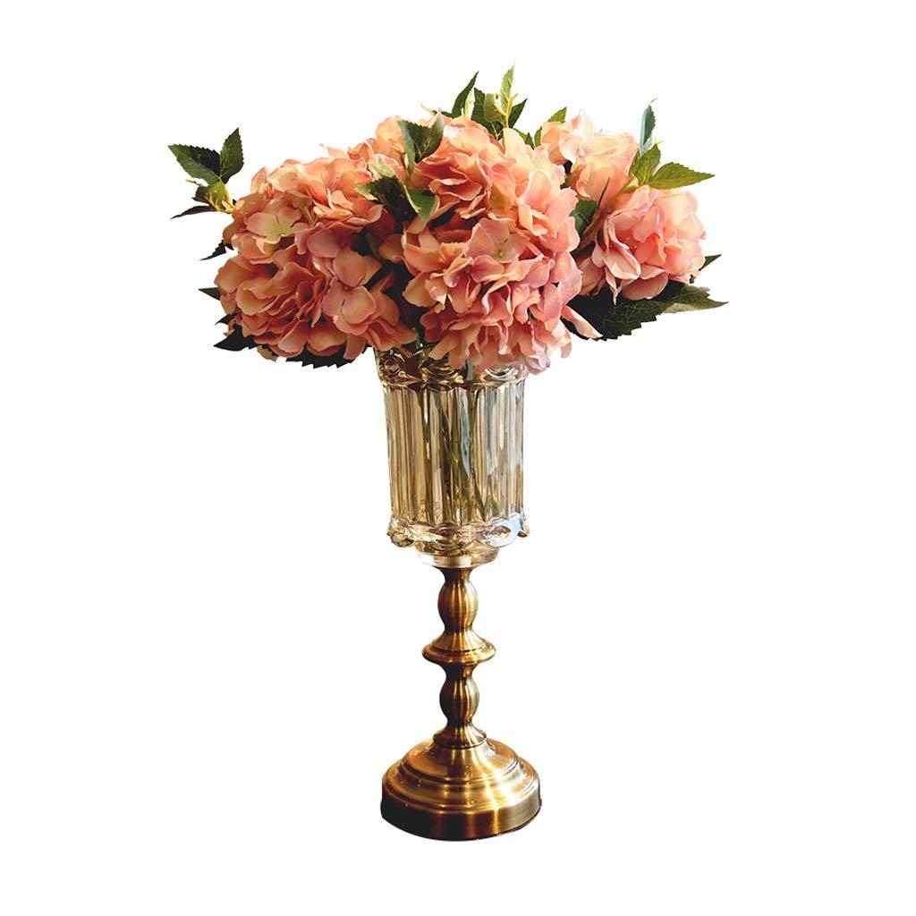 花瓶 ガラス花瓶手作りクラフトライト贅沢なドライフラワーオフィスホームデコレーション(36 * 12 cm、ドライフラワー) B07RGGZCGS