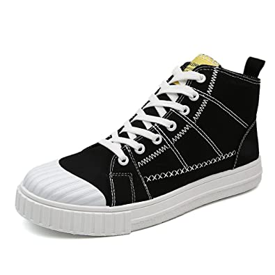 Easy Go Shopping Herren Flache Schuhe Casual Lace up & BeltBuckle High Top Sneaker,Grille Schuhe (Color : Black, Size : 39 EU)