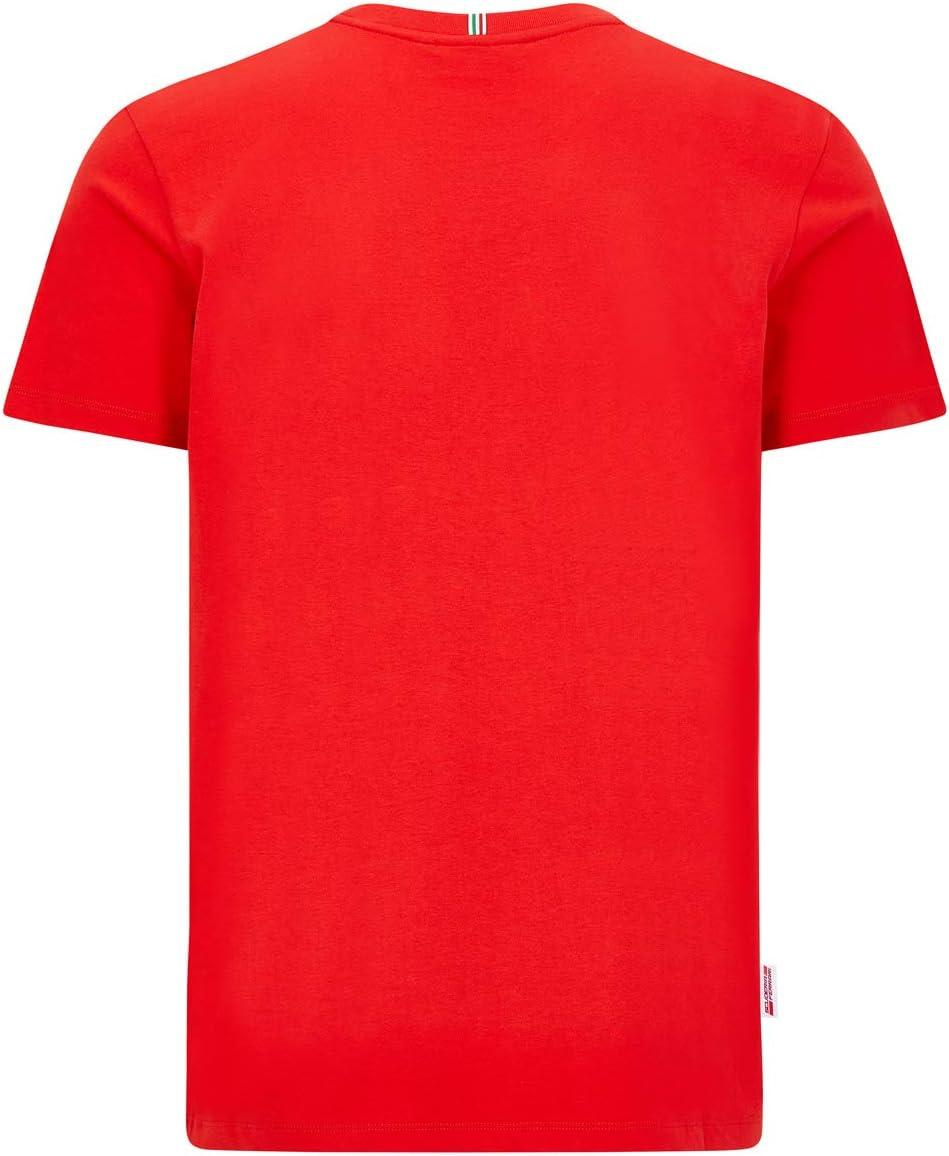 Sebastian Vettel T-Shirt Homme Rouge Coton Scuderia Ferrari Marchandise Officielle de Formule 1 2020