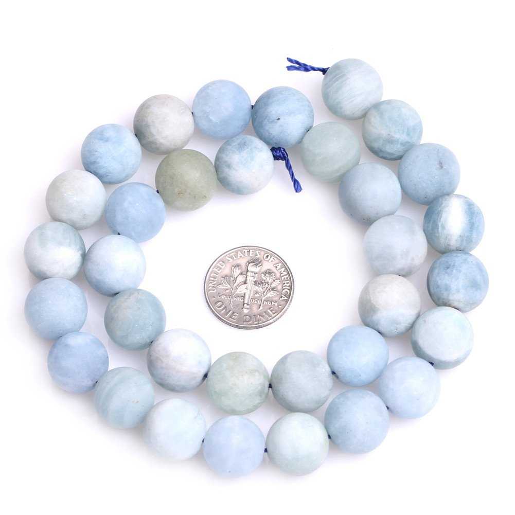 Natural 6/mm azul aguamarina Piedra Gemstone Semi preciosos mate cuentas redondas de cristal esmerilado para fabricaci/ón de joyer/ía
