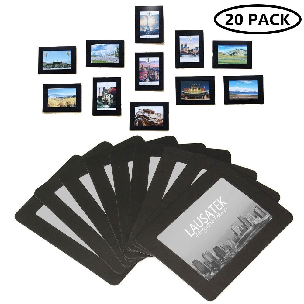 Magnetic Picture Frame, Photo Collage for Refrigerator, Magnet Board Decor, Black, Holds 4x6'', 3.5x5'', 3x4'', 2.5x3.5'' Photos, 20 Pack