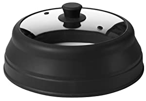 Microwave Glass Plate Cover Lid - Vented and Collapsible Design with A Safe and Easy Grip Silicone Handle – 10.5 Inch Diameter (Black)