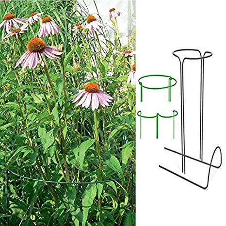 Flowers,Vine Size 11.8x19.6Inch Vegetables 2Pcs Half Round Plant Support Garden Stakes,Green Iron Wire Plant Stem Support for Climbing Plants