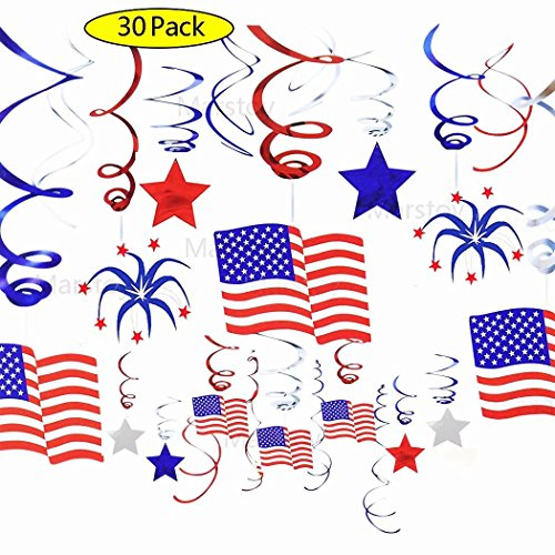 - 4th of July Patriotic Decorations (30 PCS), Patriotic Streamers,American Flag Party Supplies,Red White and Blue Hanging Swirl Decorations,4th of July Accessories Ornaments.
