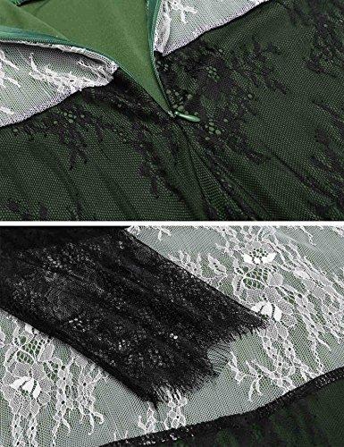 Midi Partito Manicotto Della Forma Da Delle V Del collo Verde E 4 Merletto Angvns Vestito In Flare Rappezzatura 3 Donne Scuro pxTU8qnw