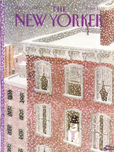New Yorker cover Addams snowman inside looks out at a storm 1/21 1985 ()