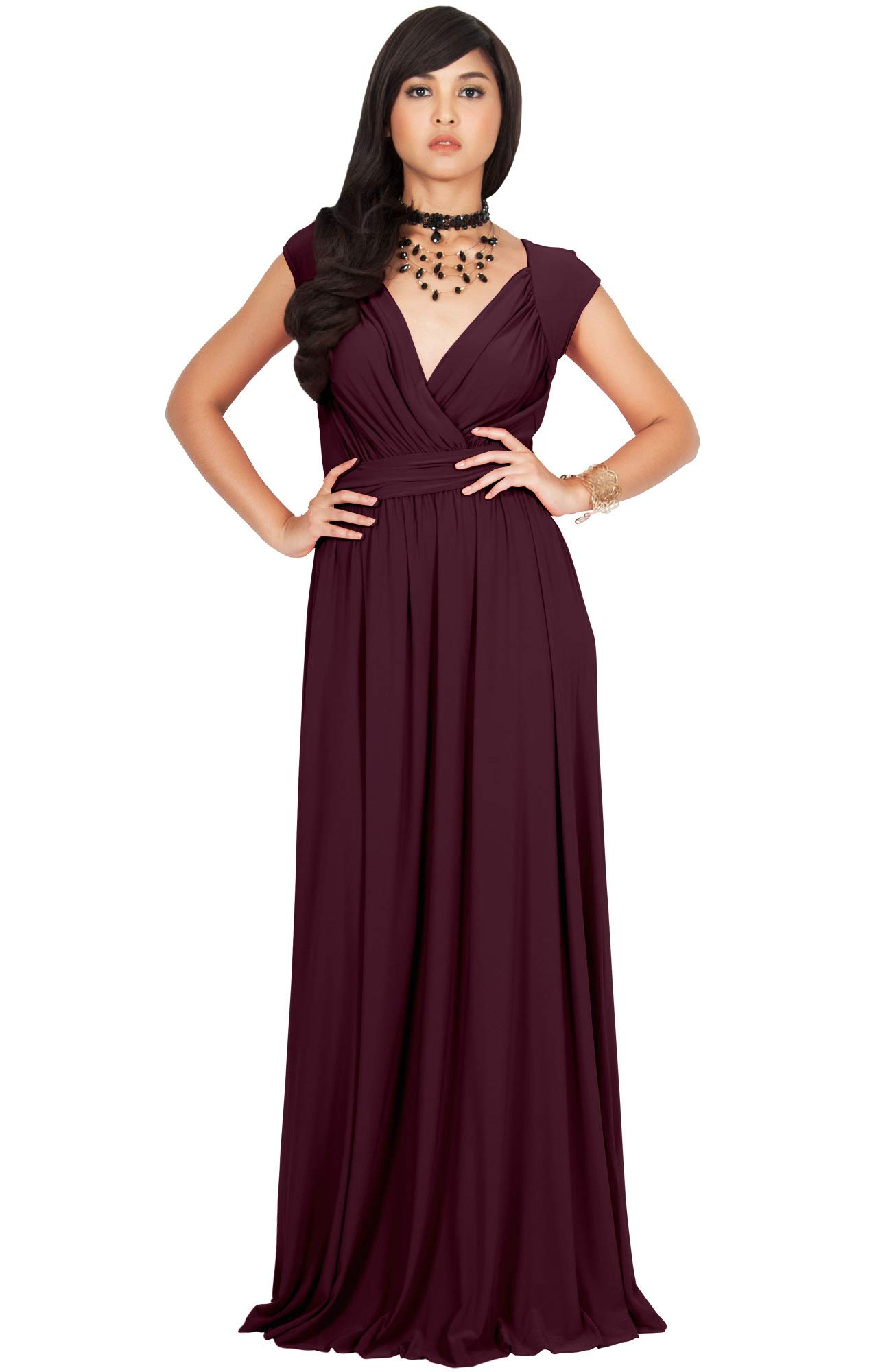 522e29a2ab5 KOH KOH Womens Long Cap Short Sleeve Cocktail Evening Sleeveless Bridesmaid  Wedding Party Flowy V-Neck Empire Waist Vintage Sexy Gown Gowns Maxi Dress  ...