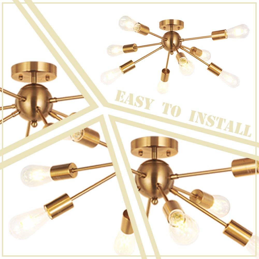 MELUCEE 8-Light Modern Sputnik Chandelier Brushed Brass Semi Flush Mount Ceiling Light Industrial Pendant Lighting Fixtures for Dining Room Bedroom Kitchen Living Room and Hallway by MELUCEE (Image #6)