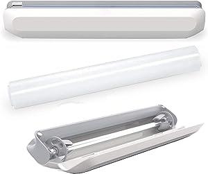 Plastic Wrap Dispenser with Slide Cutter, Reusable Cling Film Dispenser, Double Elastic Buckle Adjustable Length for Aluminum foil/Wax Paper/Foil Dispenser, Included 1 Roll Plastic Food Wrap