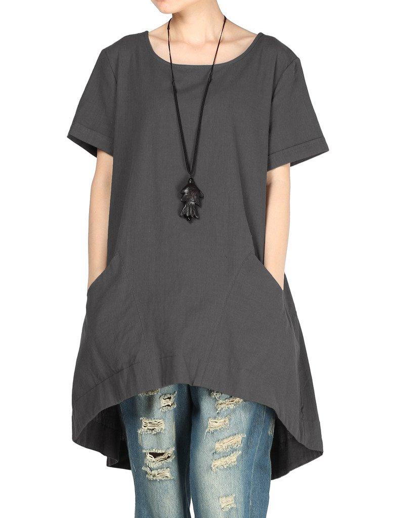 Mordenmiss Women's Round Collar Hi-Low Hemline Dresses with Pockets XL-Dark Gray