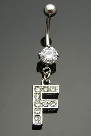 c45d5f68ec61 FAST SALE OUT! LIMITED QUANTITY!Letter F Rhinestone 316L Steel Navel Belly  Ring Body