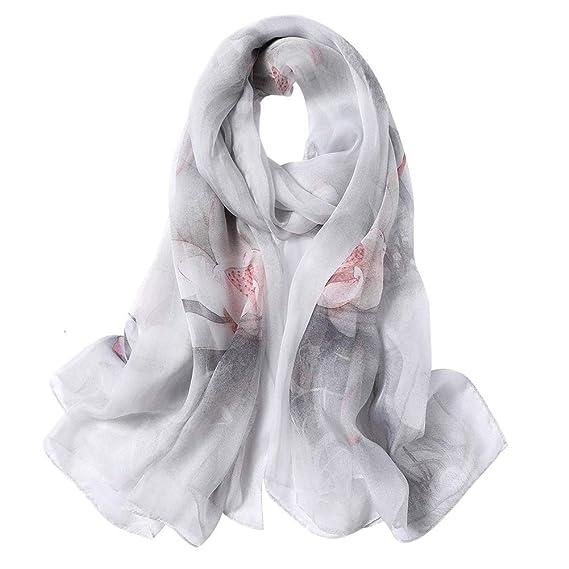 520ead3849aa STORY OF SHANGHAI Echarpe Longue Femme Cadeaux en 100% Soie Manuel Satin de  Luxe Foulard
