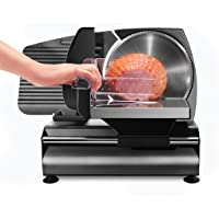 "Chefman Die-Cast Electric Deli Slicer, Precision Food Slicer; Meat, Cheese, Bread, Fruit & Vegetables, Adjustable Thickness Dial, Removable & Retractable 7.5"" Serrated Stainless Steel Blade, Non-Slip Feet, Space Saving, 180 Watt, Black"