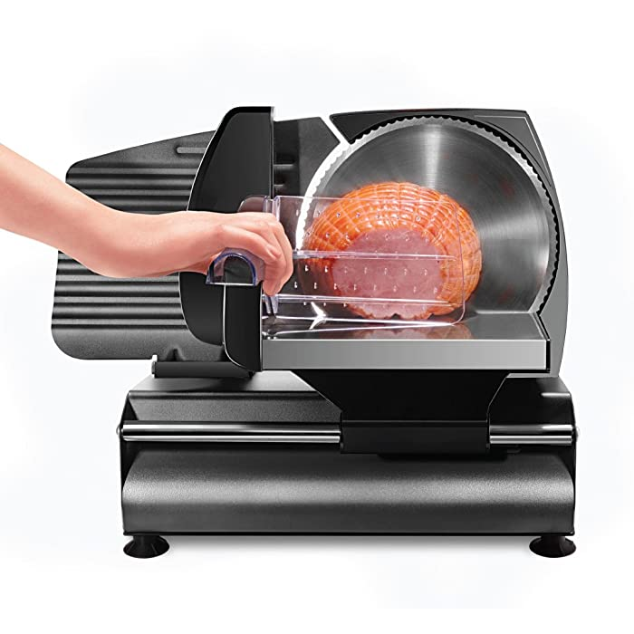 "Chefman Die-Cast Electric Deli/Food Slicer, Precisely Cuts Meat, Cheese, Bread, Fruit & Veggies, Adjustable Thickness Dial, Removable 7.5"" Serrated Stainless Steel Blade, Non-Slip Feet, Compact, Black"