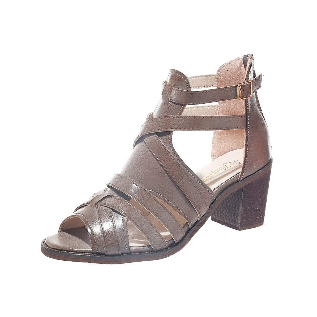 SSYongxia❤ Women's Cutout Shoes Sandals Summer Peep Toe High Heel Slippers Elegant Dress Shoes Khaki